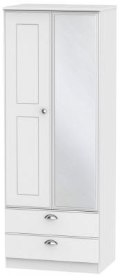 Victoria White Ash 2 Door Tall Combi Wardrobe