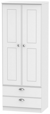 Victoria White Ash 2 Door 2 Drawer Tall Wardrobe