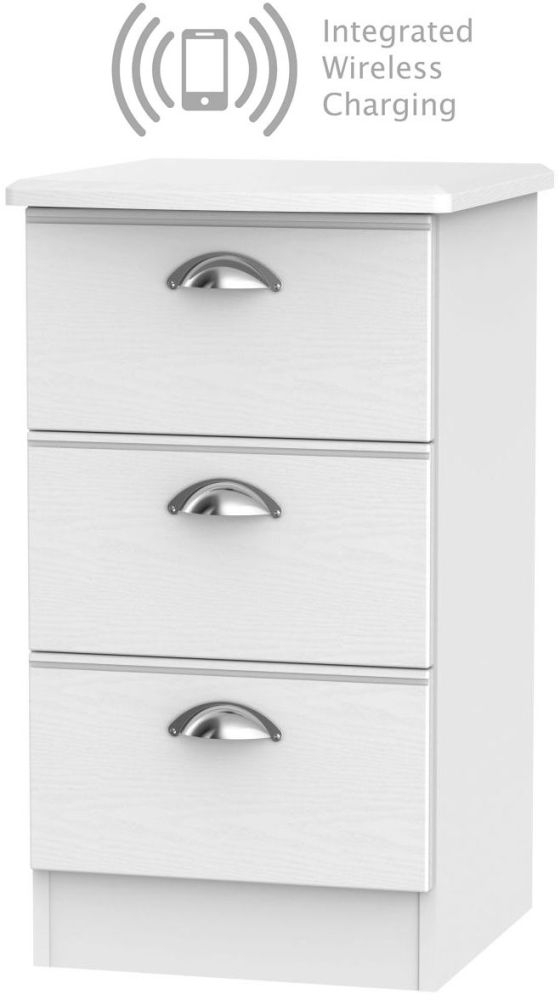 Victoria White Ash 3 Drawer Bedside Cabinet with Integrated Wireless Charging