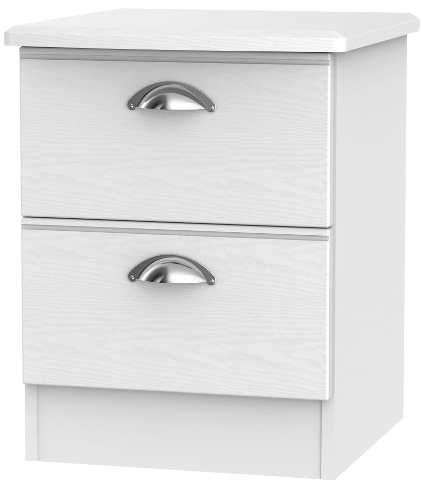 Victoria White Ash Bedside Cabinet - 2 Drawer Locker
