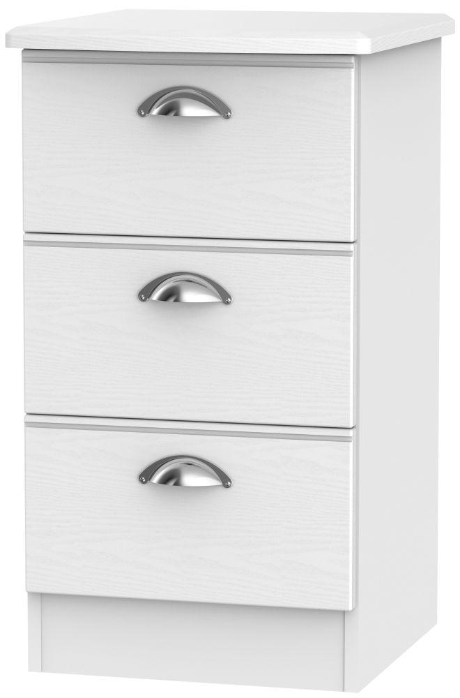 Victoria White Ash 3 Drawer Bedside Cabinet