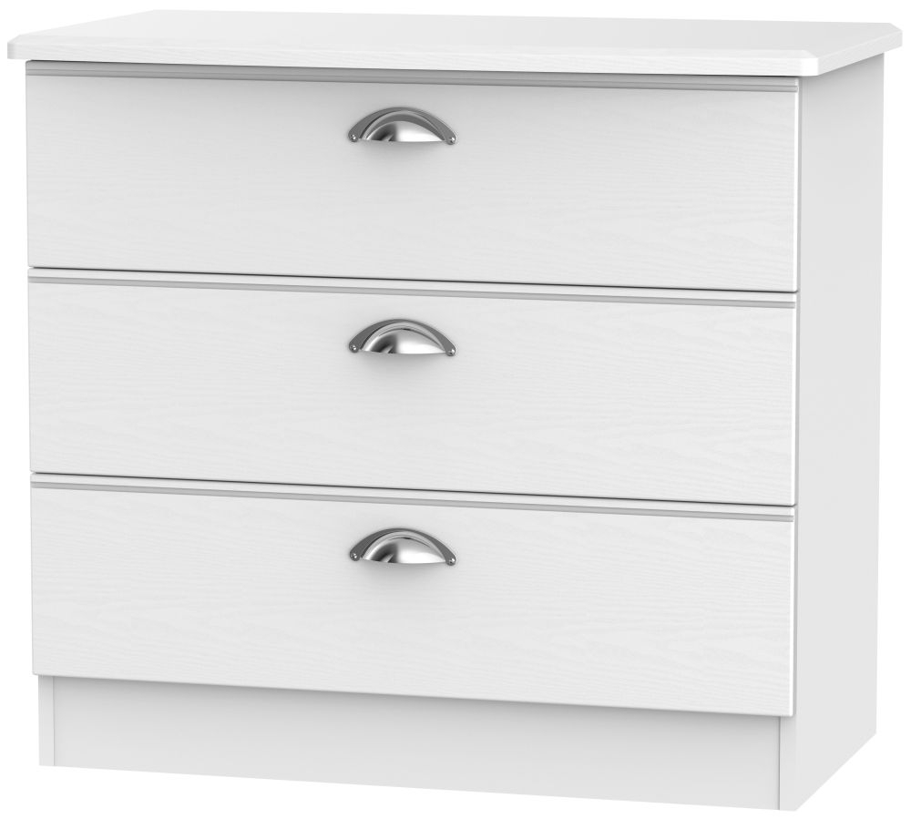 Victoria White Ash Chest of Drawer - 3 Drawer