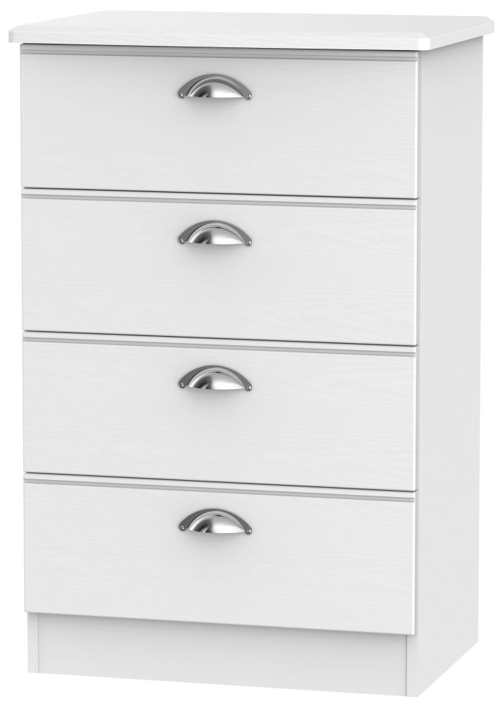 Victoria White Ash 4 Drawer Midi Chest