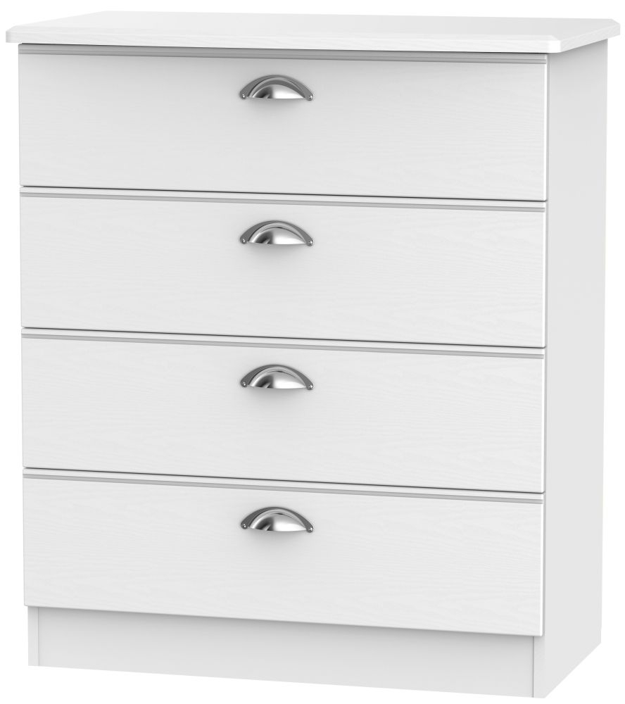 buy victoria white ash chest of drawer 4 online cfs uk.  CHOICEFURNITURESUPERSTORE