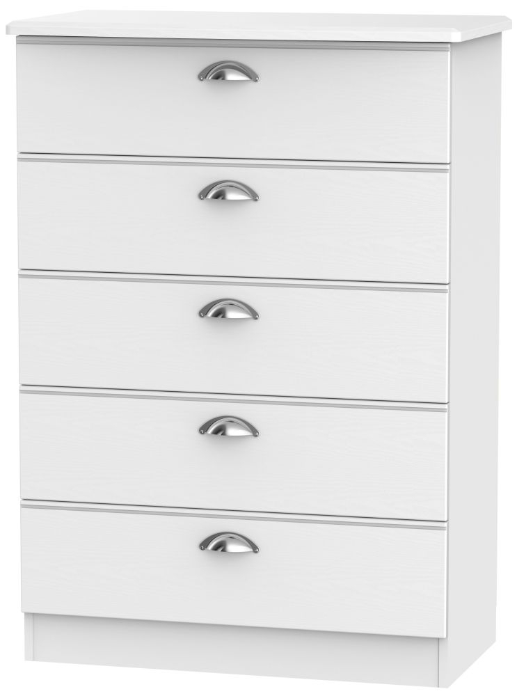 Victoria White Ash 5 Drawer Chest