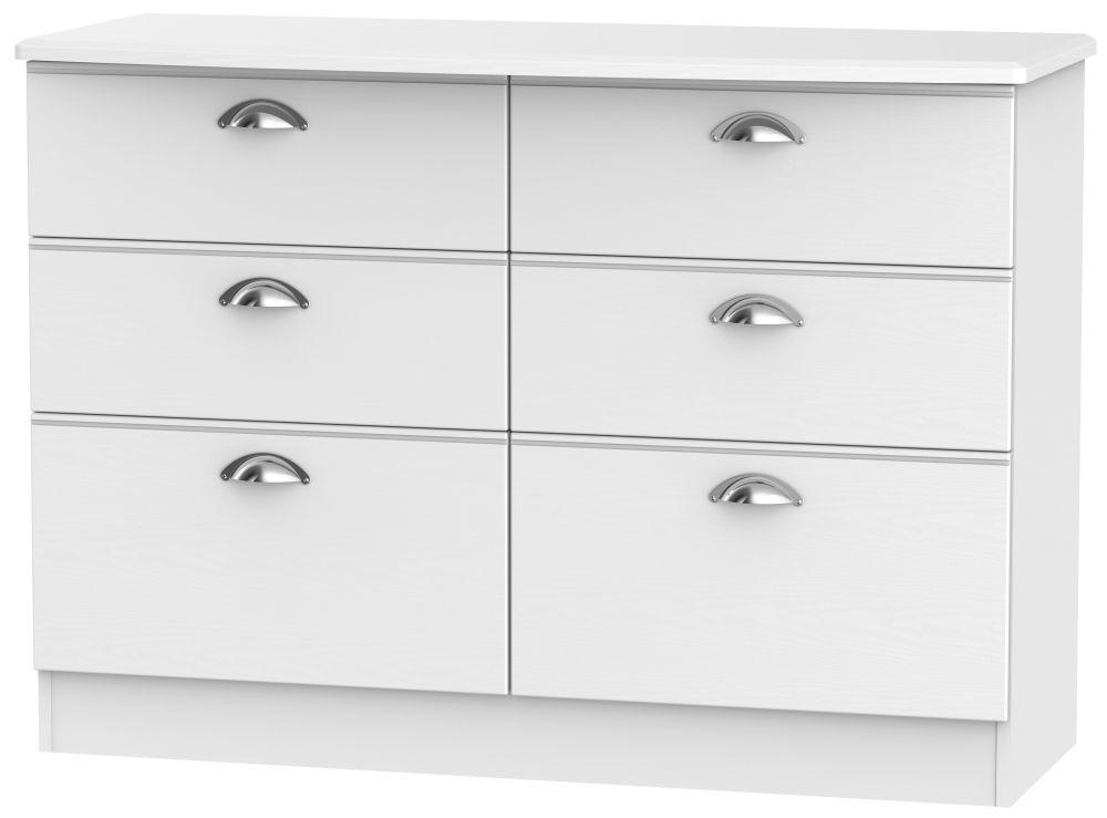 Victoria White Ash Chest of Drawer - 6 Drawer Midi
