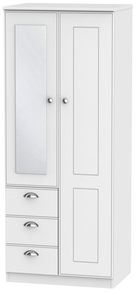 Victoria White Ash 2 Door 3 Drawer Combination Wardrobe