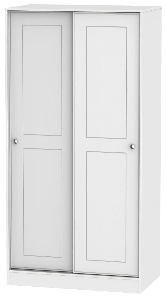 Victoria White Ash Sliding Wardrobe - 100cm Wide