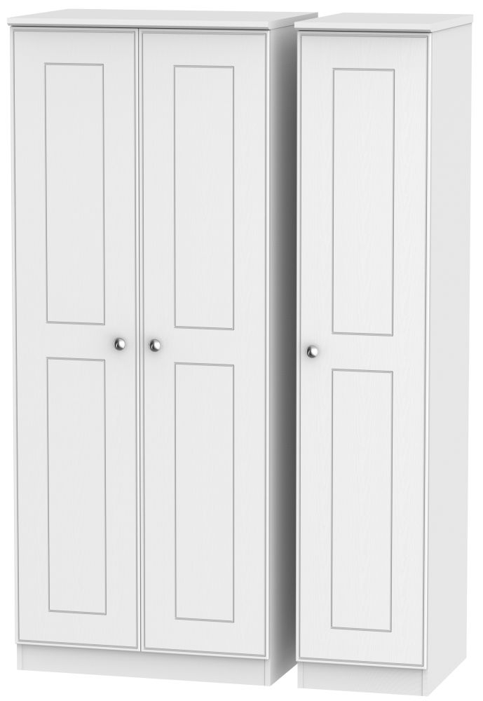 Victoria White Ash 3 Door Plain Triple Wardrobe
