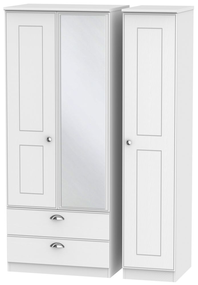 Victoria White Ash Triple Wardrobe - 2 Drawer with Mirror