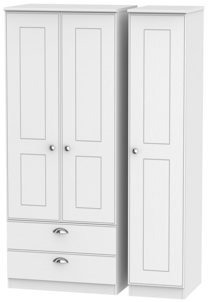 Victoria White Ash Triple Wardrobe 2 Drawer