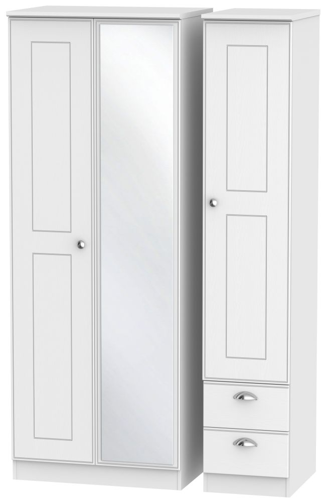 Victoria White Ash 3 Door 2 Right Drawer Tall Mirror Triple Wardrobe