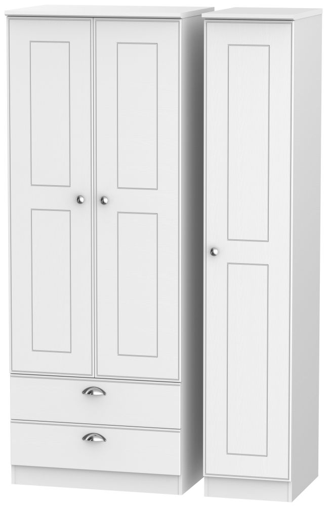 Victoria White Ash 3 Door 2 Drawer Tall Triple Wardrobe