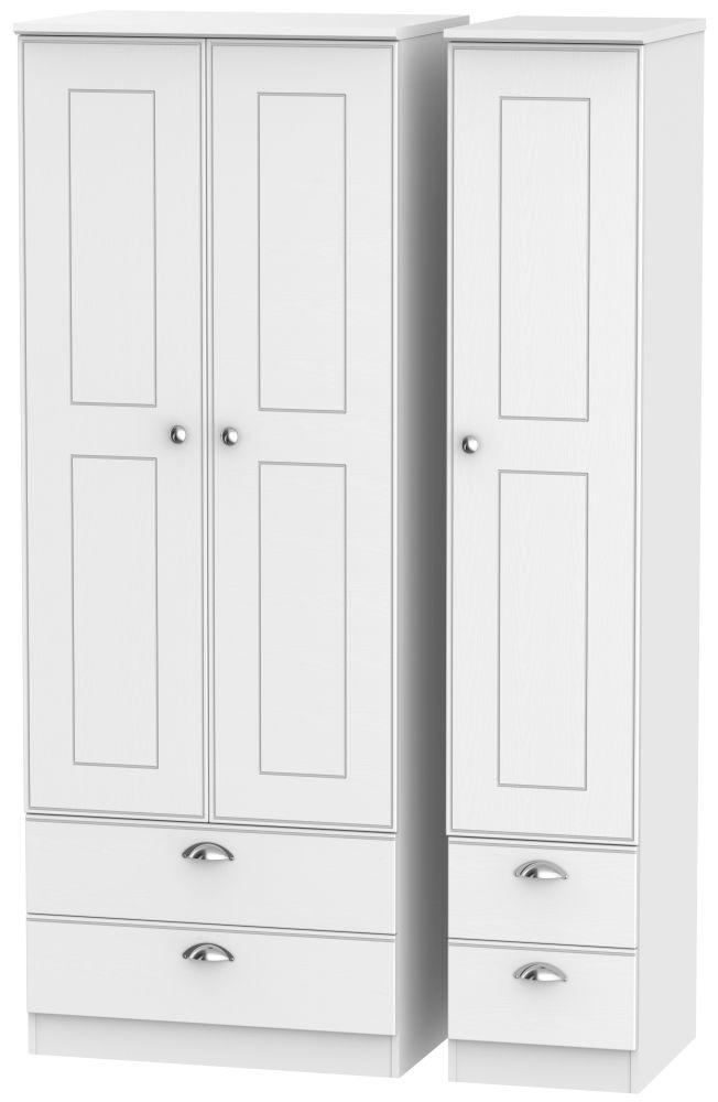Victoria White Ash 3 Door 4 Drawer Tall Triple Wardrobe