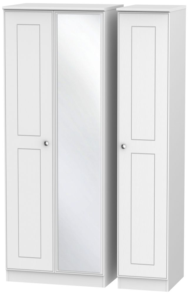 Victoria White Ash 3 Door Tall Mirror Wardrobe