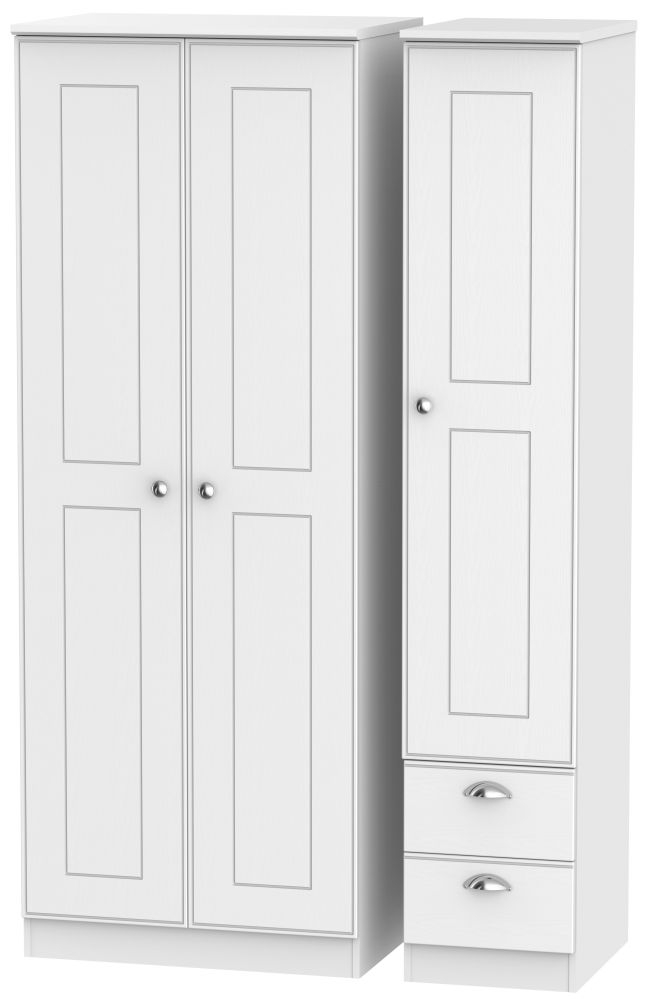 Victoria White Ash 3 Door 2 Right Drawer Triple Wardrobe
