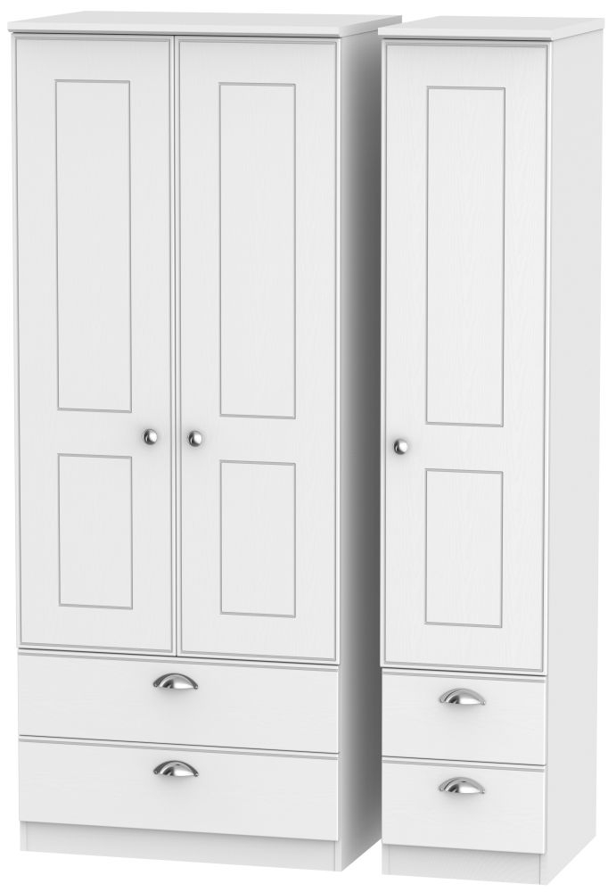 Victoria White Ash 3 Door 4 Drawer Triple Wardrobe