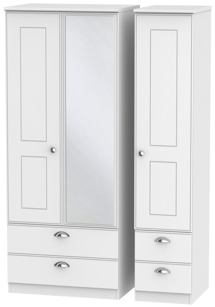 Victoria White Ash 3 Door 4 Drawer Combi Wardrobe
