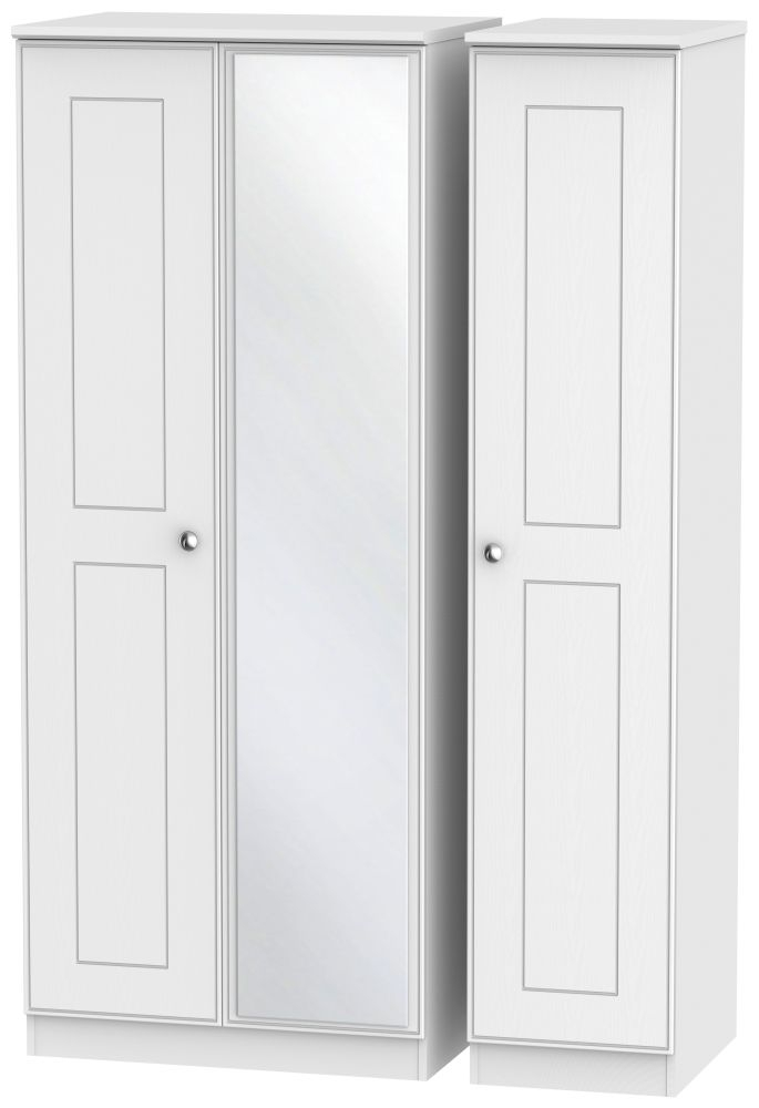 Victoria White Ash 3 Door Mirror Triple Wardrobe