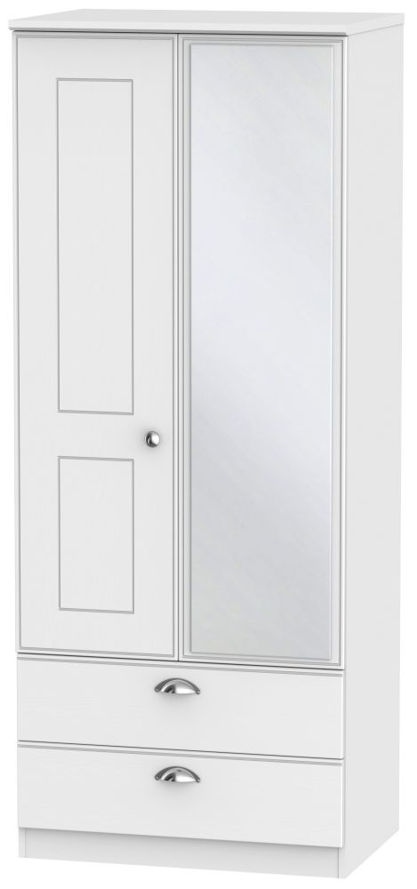 Victoria White Ash 2 Door 2 Drawer Mirror Wardrobe