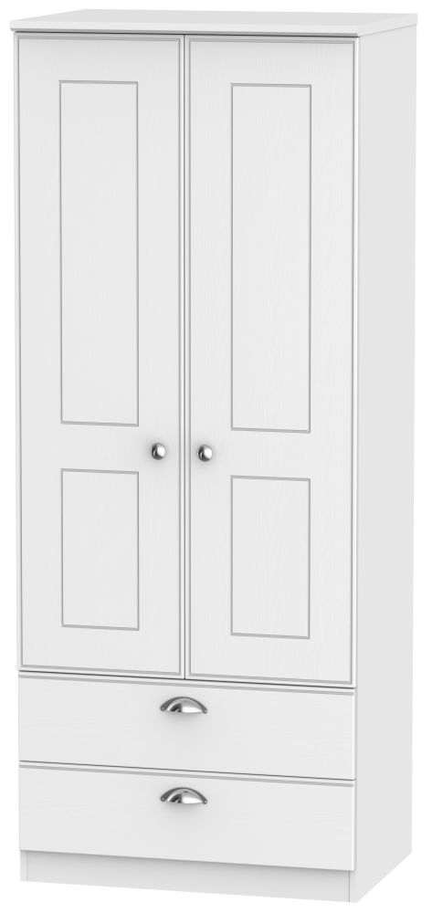 Victoria White Ash Wardrobe - 2ft 6in 2 Drawer