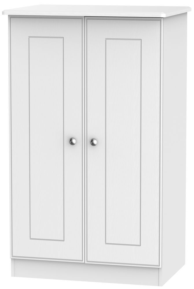Victoria White Ash 2 Door Plain Midi Wardrobe