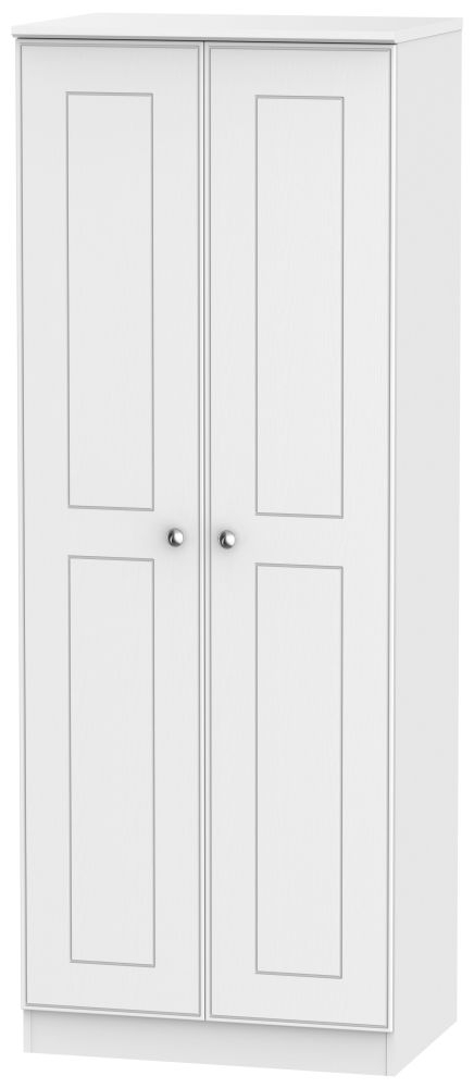 Victoria White Ash 2 Door Tall Plain Double Wardrobe