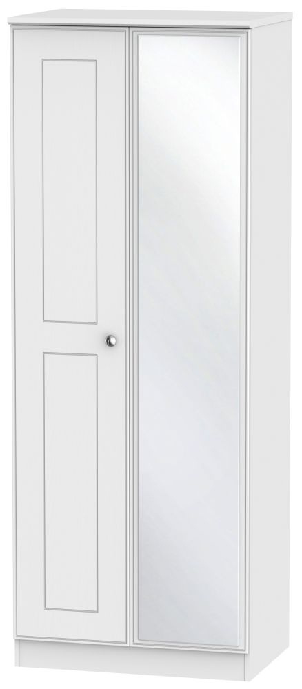 Victoria White Ash 2 Door Tall Mirror Wardrobe