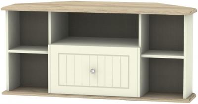 Vienna 1 Drawer Corner TV Unit - Cream Ash and Bordeaux Oak