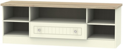 Vienna 1 Drawer Wide Open TV Unit - Cream Ash and Bordeaux Oak