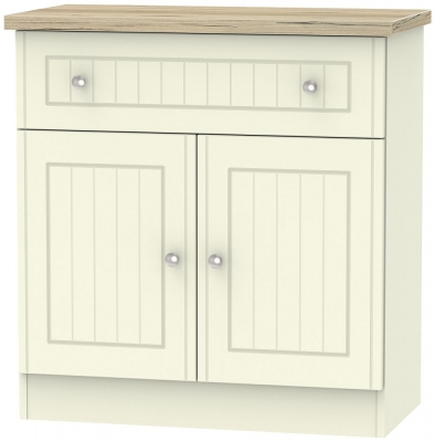 Vienna 2 Door 1 Drawer Narrow Sideboard - Cream Ash and Bordeaux Oak