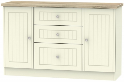 Vienna 2 Door 3 Drawer Sideboard - Cream Ash and Bordeaux Oak