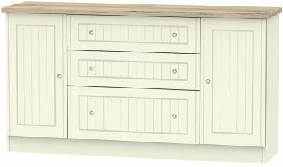 Vienna 2 Door 3 Drawer Wide Sideboard - Cream Ash and Bordeaux Oak