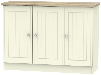 Vienna 3 Door Narrow Sideboard - Cream Ash and Bordeaux Oak