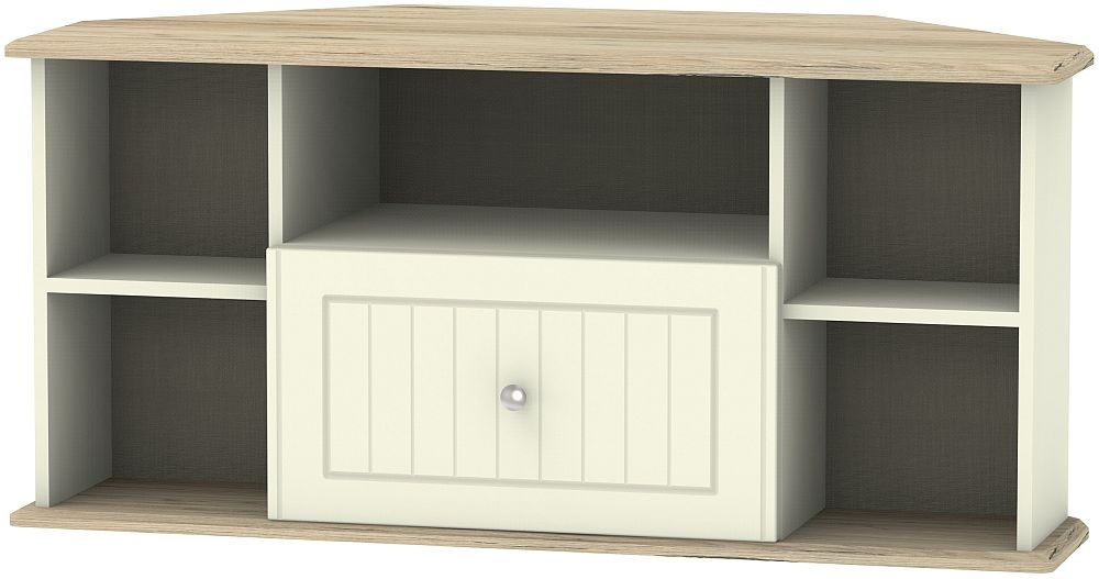 Vienna 1 Drawer Corner TV Unit - Cream Ash and Bordeaux Oak