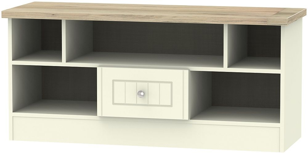 Vienna 1 Drawer Open TV Unit - Cream Ash and Bordeaux Oak