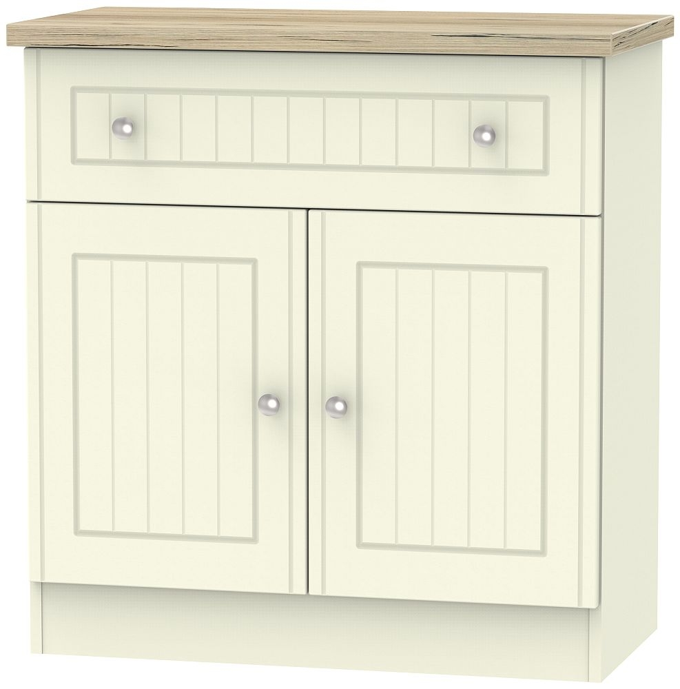 Vienna 2 Door 1 Drawer Narrow Sideboard - Cream Ash and Bordeaux Oak