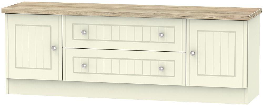 Vienna 2 Door 2 Drawer Wide TV Unit - Cream Ash and Bordeaux Oak