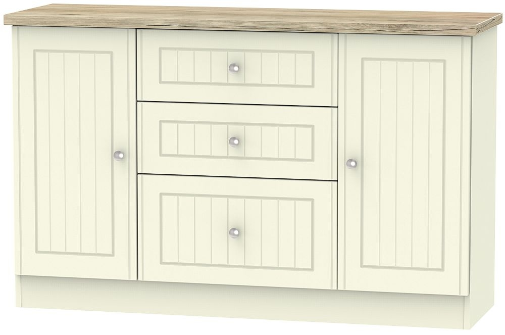 Vienna 2 Door 3 Drawer Sideboard - Cream Ash and Bordeaux Oak