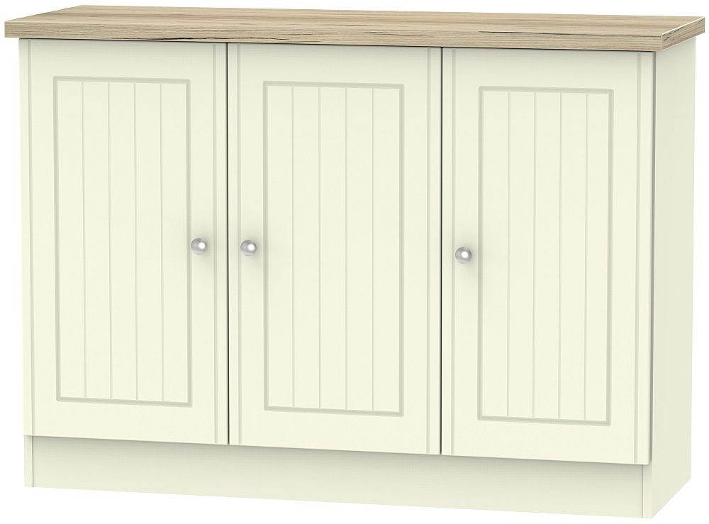 Vienna 3 Door Narrow Sideboard - Cream Ash and Bordeaux Oak