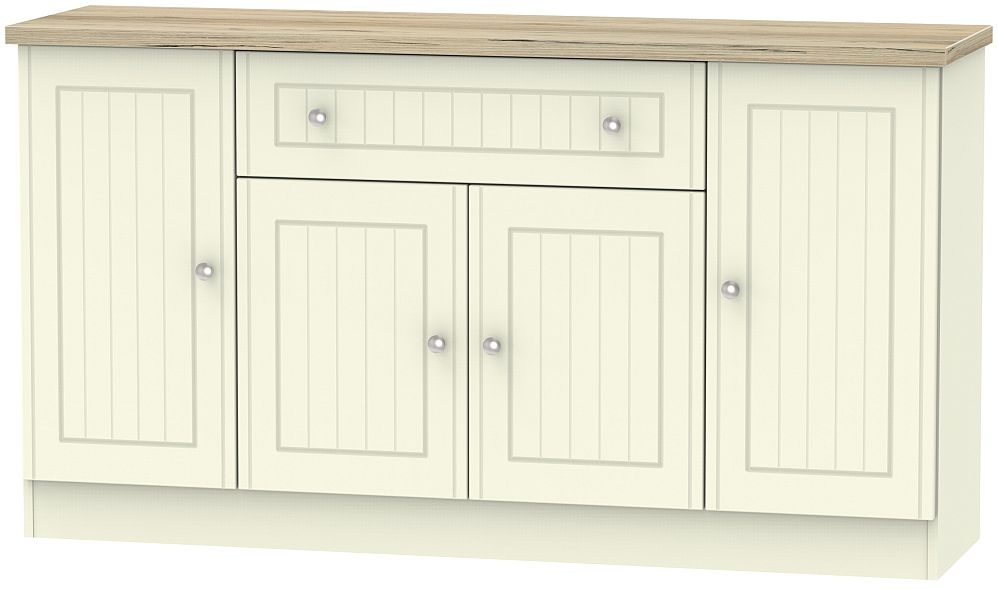 Vienna 4 Door 1 Drawer Wide Sideboard - Cream Ash and Bordeaux Oak