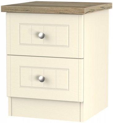 Vienna Cream Ash Bedside - 2 Drawer Locker