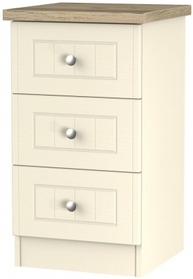 Vienna Cream Ash Bedside - 3 Drawer Locker