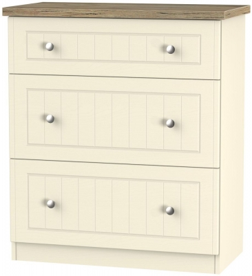 Vienna Cream Ash Chest of Drawer - 3 Drawer Deep
