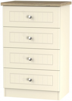 Vienna Cream Ash Chest of Drawer - 4 Drawer Midi