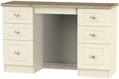 Vienna Cream Ash Dressing Table - 6 Drawer Kneehole