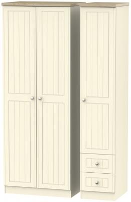 Vienna Cream Ash 3 Door 2 Left Drawer Tall Wardrobe