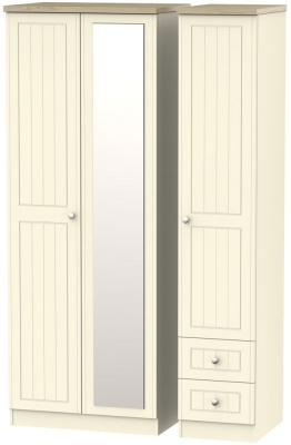 Vienna Cream Ash 3 Door 2 Drawer Tall Combi Wardrobe