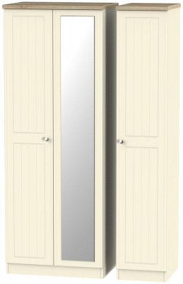 Vienna Cream Ash 3 Door Tall Mirror Wardrobe
