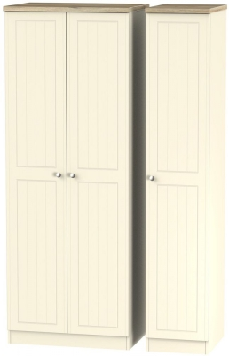 Vienna Cream Ash Triple Wardrobe - Tall Plain